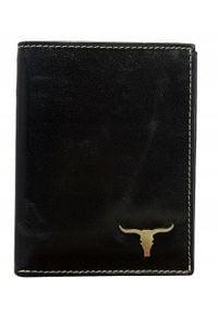 BUFFALO WILD - Portfel męski skórzany RFID Buffalo Wild czarny. Kolor: czarny. Materiał: skóra