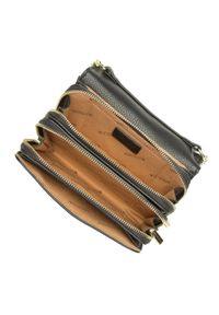 Wittchen - Damska listonoszka elegancka na łańcuszku. Kolor: czarny. Wzór: aplikacja. Materiał: skórzane. Styl: elegancki