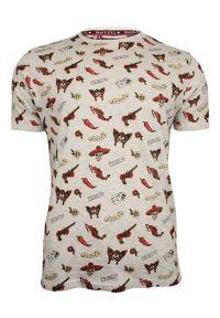 Szary T-Shirt (Koszulka) z Nadrukiem -Brave Soul- Męski, Chili, MEXICO, Rewolwer, Kostki. Okazja: na co dzień. Kolor: szary. Materiał: bawełna, wiskoza. Wzór: nadruk. Styl: casual