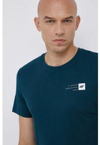 4f - 4F - T-shirt bawełniany. Kolor: turkusowy. Materiał: bawełna. Wzór: nadruk