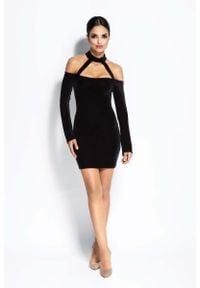 Dursi - Czarna Sukienka Ołówkowa Mini z Odkrytymi Ramionami. Kolor: czarny. Materiał: poliester, elastan. Typ sukienki: ołówkowe, z odkrytymi ramionami. Długość: mini