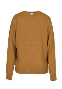 VEVA - Męski sweter z wełny Tender musztardowy. Kolor: żółty. Materiał: wełna. Wzór: ze splotem, melanż. Styl: klasyczny