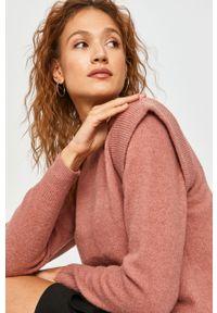 Różowy sweter Answear Lab wakacyjny, z długim rękawem, długi, z okrągłym kołnierzem