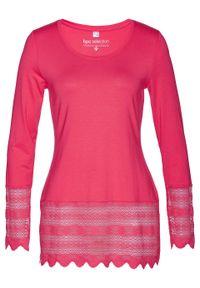 Różowa bluzka bonprix długa, w koronkowe wzory