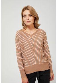 Sweter MOODO z dekoltem w serek, w paski, z długim rękawem, długi