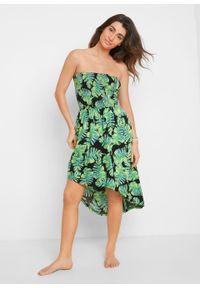 Sukienka plażowa bonprix czarno-zielony w roślinny wzór. Okazja: na plażę. Kolor: czarny. Wzór: nadruk