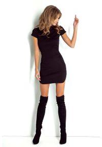 Wow Point - Dopasowana Czarna Sukienka Mini z Zaokrąglonym Dołem. Kolor: czarny. Materiał: elastan, bawełna. Długość: mini