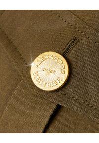 ALEXANDRE VAUTHIER - Ciemnozielona marynarka z kieszeniami. Kolor: brązowy. Materiał: jeans, bawełna, wiskoza. Długość rękawa: długi rękaw. Długość: długie. Wzór: moro. Styl: elegancki, militarny