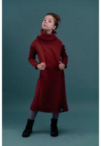 Hultaj Polski - Sukienka Mała Olga bordo z czarnym. Kolor: czarny. Materiał: dresówka, bawełna, dzianina, elastan, tkanina