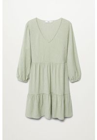 mango - Mango - Sukienka PATI. Kolor: zielony. Materiał: tkanina. Długość rękawa: długi rękaw. Typ sukienki: rozkloszowane