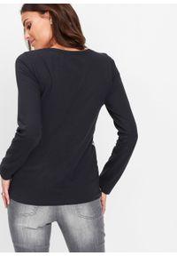 Czarna bluzka bonprix długa, z długim rękawem, z nadrukiem
