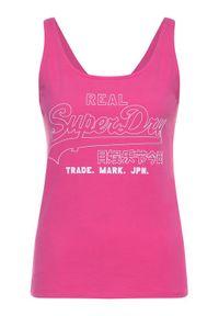 Superdry Top Outline Pop Entry Vest W6010061A Różowy Oversize. Kolor: różowy