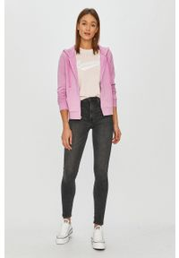 Różowa bluza rozpinana Converse z kapturem, na co dzień, casualowa