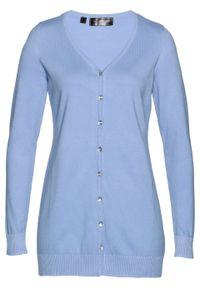 Długi sweter rozpinany bonprix perłowy niebieski. Kolor: niebieski. Długość: długie. Styl: klasyczny