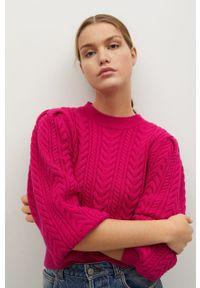 Różowy sweter mango na co dzień, długi, z długim rękawem