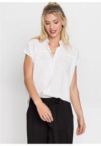 Biała bluzka bonprix krótka, z koszulowym kołnierzykiem
