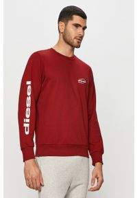 Czerwona bluza nierozpinana Diesel na co dzień, casualowa