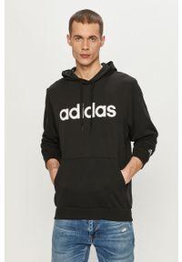 Czarna bluza nierozpinana Adidas z kapturem, z nadrukiem