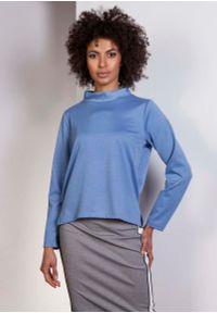Niebieska bluzka z długim rękawem Lanti ze stójką, wizytowa
