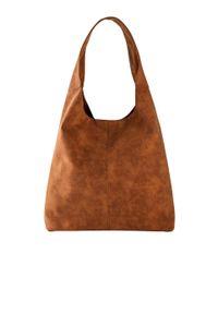 Torebka shopper bonprix koniakowy. Kolor: brązowy. Materiał: skórzane
