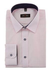 Różowa elegancka koszula Desire z kontrastowym kołnierzykiem, długa, z długim rękawem
