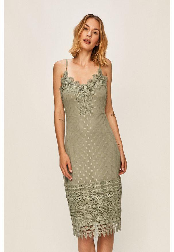 Zielona sukienka Vila na co dzień, na ramiączkach, mini, casualowa