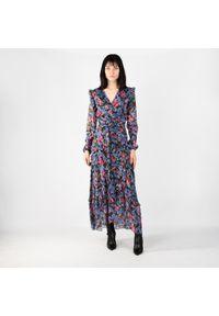 """Pinko Sukienka """"Aquilina 1"""". Typ kołnierza: dekolt w kształcie V. Materiał: tkanina. Wzór: kwiaty. Typ sukienki: kopertowe, dopasowane. Długość: midi"""