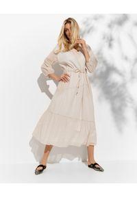 PESERICO - Beżowa sukienka midi. Kolor: beżowy. Materiał: materiał, bawełna. Długość: midi