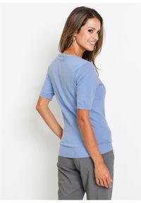 Niebieski sweter bonprix krótki, z krótkim rękawem