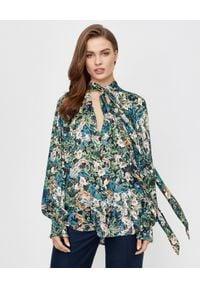 ICON - Kolorowa koszula w kwiecisty wzór Fresco. Kolor: zielony. Materiał: jedwab. Długość: długie. Wzór: kolorowy