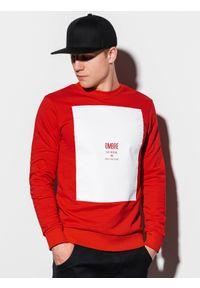 Czerwona bluza Ombre Clothing z nadrukiem, bez kaptura