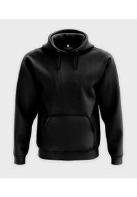 MegaKoszulki - Męska bluza z kapturem (bez nadruku, gładka) - czarna. Typ kołnierza: kaptur. Kolor: czarny. Wzór: gładki