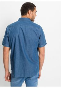 """Koszula dżinsowa, krótki rękaw bonprix niebieski """"bleached"""". Kolor: niebieski. Długość rękawa: krótki rękaw. Długość: krótkie"""