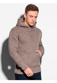 Ombre Clothing - Sweter męski E181 - brązowy - XXL. Kolor: brązowy. Materiał: akryl