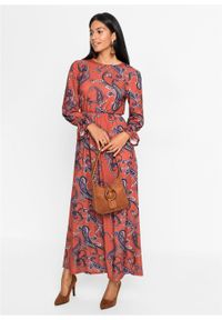Czerwona sukienka bonprix maxi, paisley