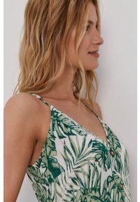 Vila - Sukienka. Kolor: zielony. Materiał: tkanina. Długość rękawa: na ramiączkach. Typ sukienki: rozkloszowane