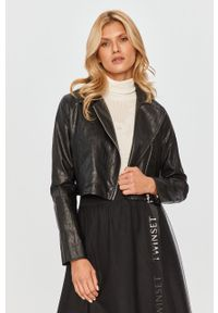 Czarna kurtka TwinSet bez kaptura, klasyczna