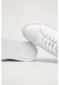 Białe sneakersy Lauren Ralph Lauren na średnim obcasie, z cholewką, z okrągłym noskiem