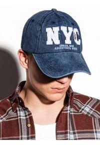 Ombre Clothing - Czapka męska z daszkiem H062 - niebieska - uniwersalny. Kolor: niebieski. Materiał: bawełna
