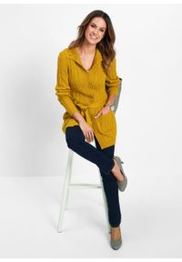 Brązowy sweter bonprix długi, z długim rękawem