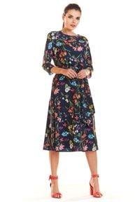 e-margeritka - Sukienka midi rozkloszowana w kwiaty granat - xl. Materiał: tkanina, poliester, elastan, materiał. Wzór: kwiaty. Sezon: wiosna. Typ sukienki: proste. Długość: midi
