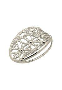 Polcarat Design - Srebrny rodowany wisiorek W 1890. Materiał: srebrne. Kolor: srebrny. Wzór: kwiaty, aplikacja