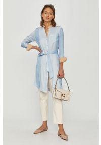Niebieska sukienka Mos Mosh z długim rękawem, mini, casualowa, na co dzień