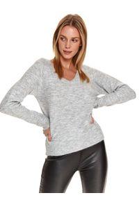 Szary sweter TOP SECRET z dekoltem w serek