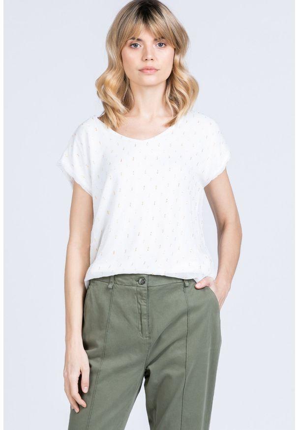 Biała bluzka Monnari krótka, z krótkim rękawem