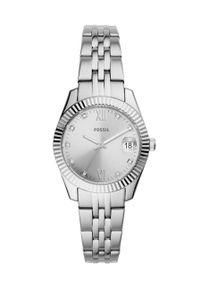 Fossil - FOSSIL - Zegarek ES4897. Kolor: srebrny. Materiał: materiał