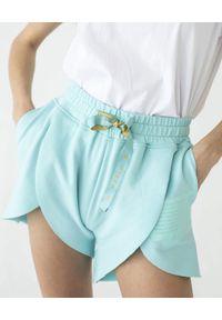 MARLU - Błękitne szorty Gold. Kolekcja: dla wysokich. Kolor: niebieski. Materiał: bawełna, żakard. Wzór: nadruk. Styl: sportowy, wakacyjny
