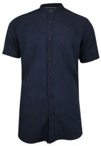 Niebieska koszula casual Brave Soul na co dzień, ze stójką, krótka, z krótkim rękawem