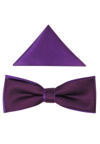Modini - Śliwkowo-fioletowa mucha męska slim B81. Kolor: fioletowy. Materiał: tkanina, poliester. Styl: elegancki