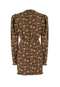 SELF LOVE - Sukienka w kwiaty Sewilla. Kolor: brązowy. Materiał: wiskoza, materiał. Wzór: kwiaty. Długość: mini